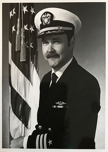 Photo of Retired CAPT Shelar when he was a CDR